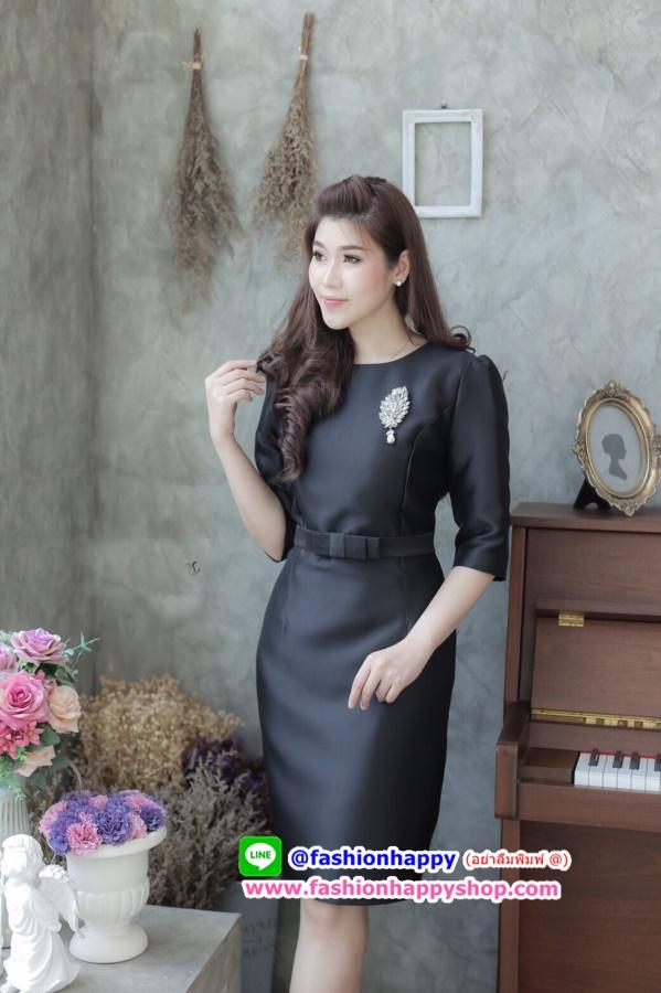 รูปภาพที่3 ของสินค้า : (Size 2XL   )แฟชั่นชุดสีดำสวยๆ ชุดเดรสสีดำ ชุดแซกสีดำ ชุดทำงานสีดำ ผ้าไหมแขนสามส่วน